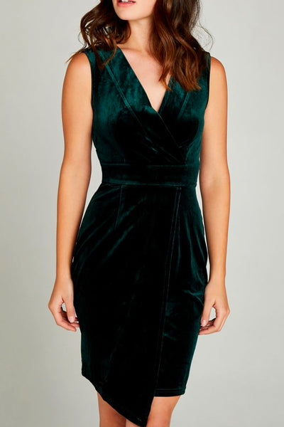 Velvet V-Neck Cross-Over Dress by Apricot