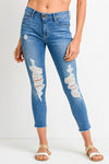 Mid Destroyed Crop Jeans by Just Black Denim