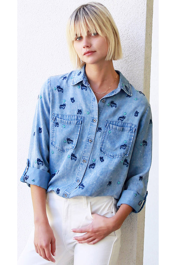 Frenchie Denim Button Down