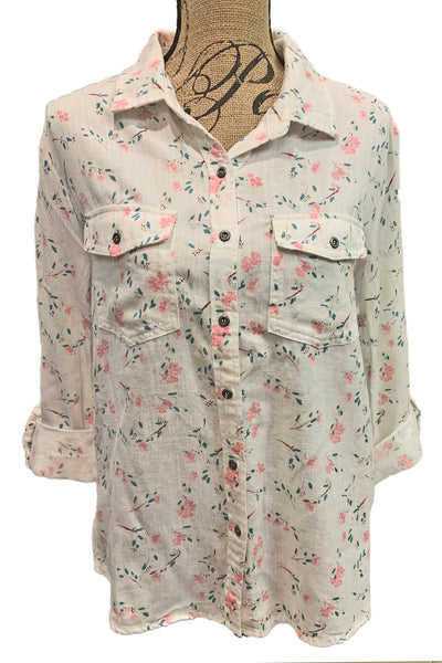 White Linen Blend Floral Print Shirt BT2226T by Billie T