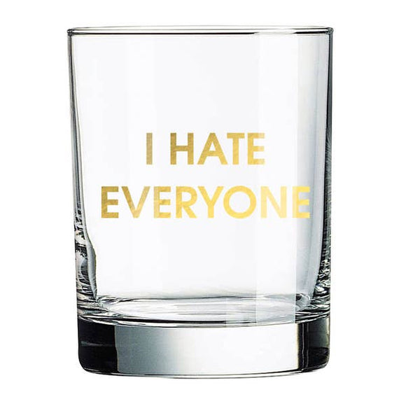 Hate Everyone Rocks Glass