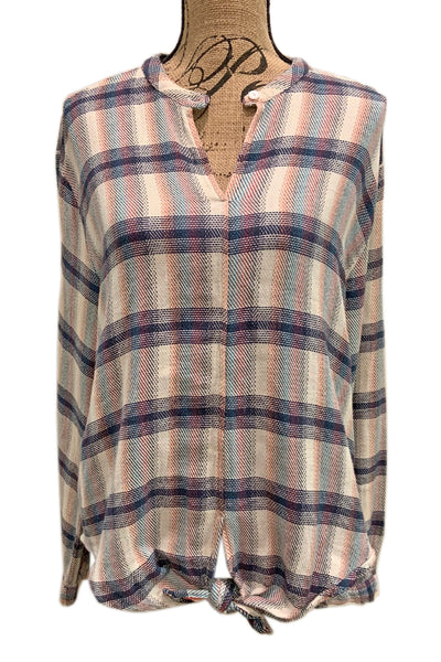 Wyatt Plaid Tie Front Blouse by Dylan