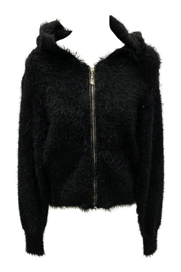 Fuzzy Zip Up Sweater