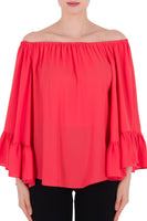Ruffle Sleeve Top 191253 in Flamingo by Joseph Ribkoff