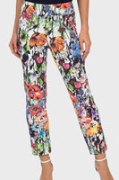 Abstract Floral Pants 191666 in White Multi by Joseph Ribkoff