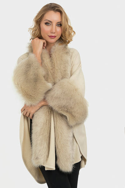Faux Fur Knit Cape 193879 by Joseph Ribkoff