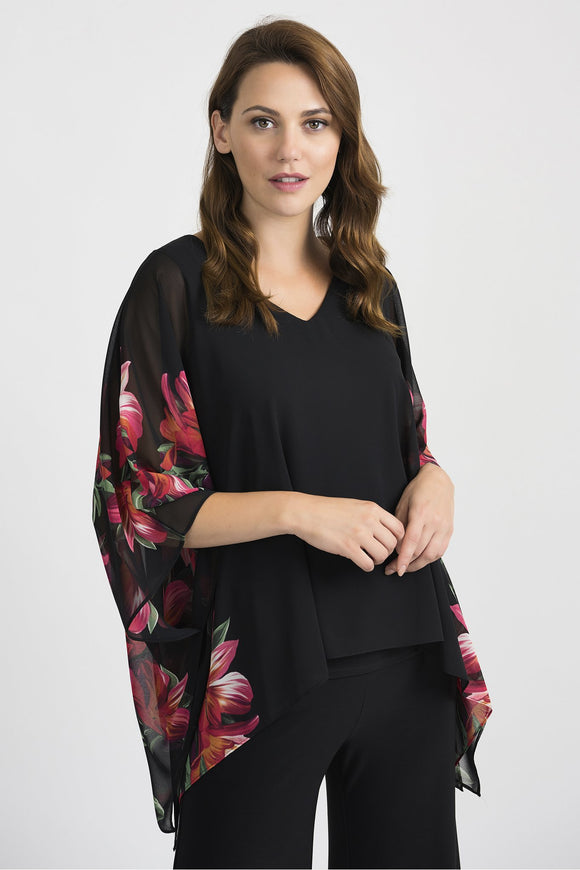 V Neck Top with Sheer Overlay 201496 by Joseph Ribkoff