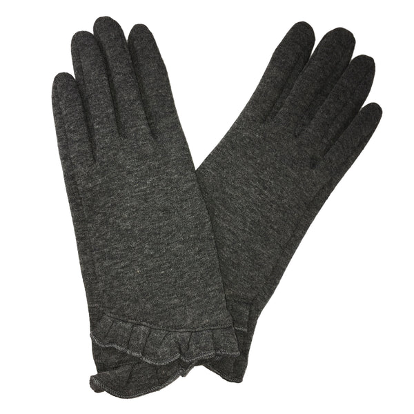Grey Shirring Trimmed Texting Gloves