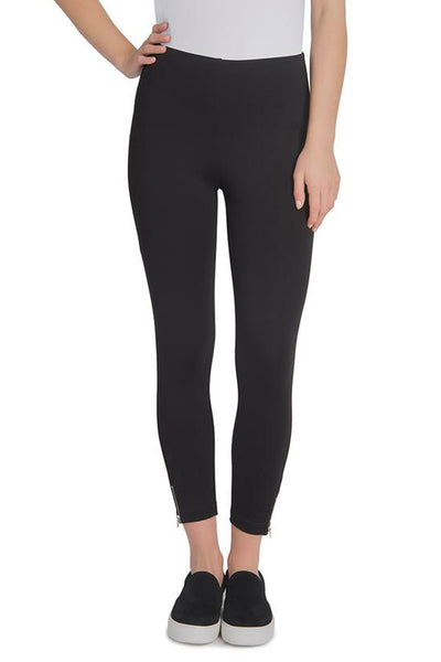 Black Mini Zip Crop Pant 12-1853-M2 by Lysse