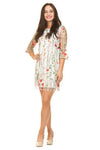 White 3/4 Sleeve Floral Embellished Dress PD1576 by Papillon
