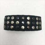 Mixed Metal Black Leather Cuff Bracelet