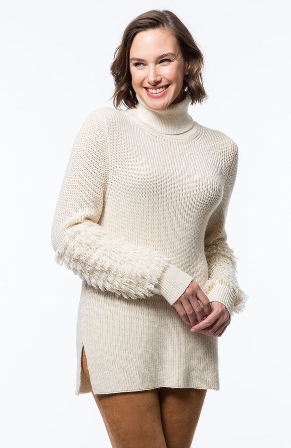 Fringed Sleeve Turtleneck
