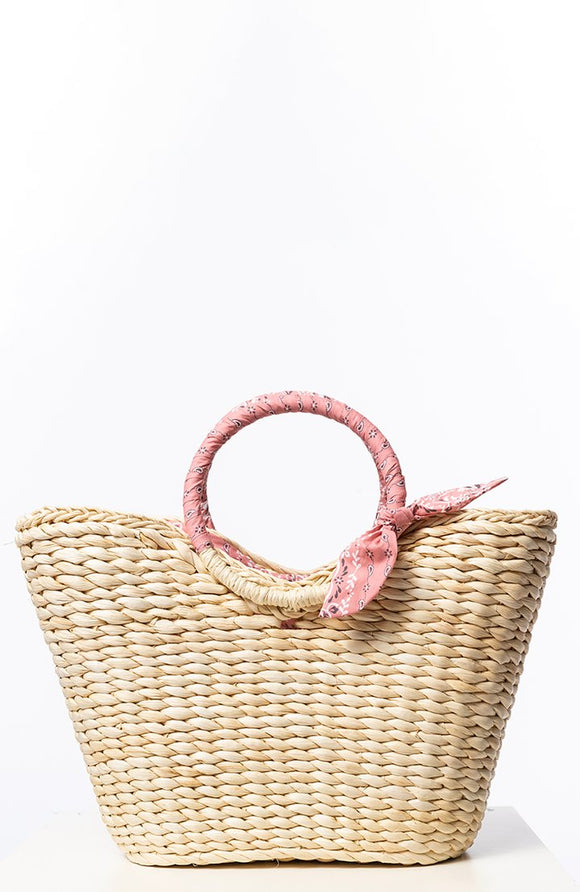 Straw Banded Trimmed Tote