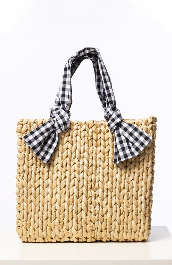 Gingham Handle Tote
