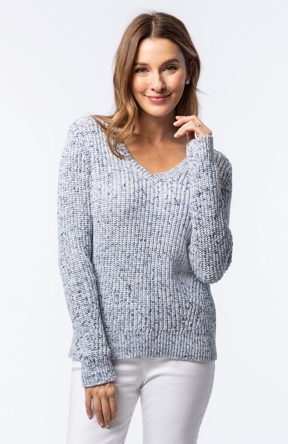 V Neck Space Dyed Sweater