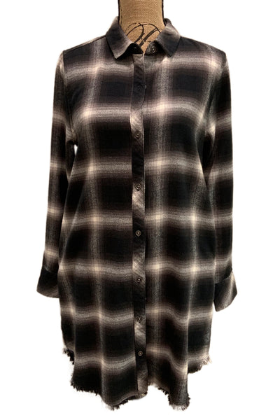 Plaid Fray Hem Shirt Dress 91W123TF94 by Dylan