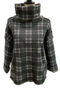 Double Plaid Raw Seam Mock 91W137CKP1 by Dylan