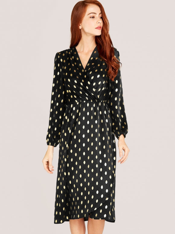 Gold Spot Wrap Dress