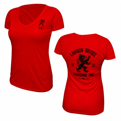 Vintage Rampant Lion Ladies V-Neck T-Shirt