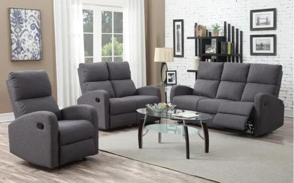 Sofa Set 1808 Grey Fabric 5 Recliners - Furniture Warehouse Brampton