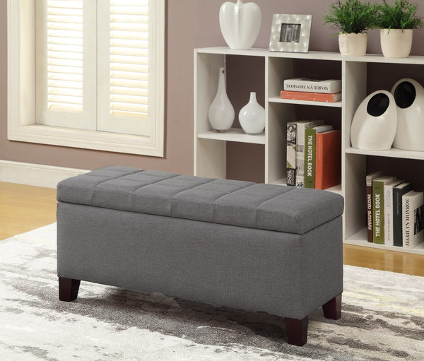 Olivia Grey Storage Ottoman - Furniture Warehouse Brampton