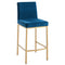 Diaz 26'' Counter Stool, set of 2, in Blue with Gold Legs - sydneysfurniture
