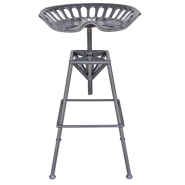 Track Adjustable Stool in Gunmetal - sydneysfurniture