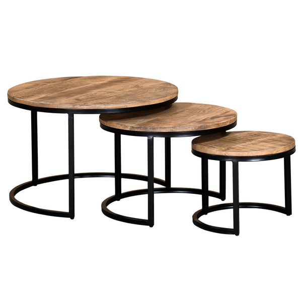 solid wood nesting table set round