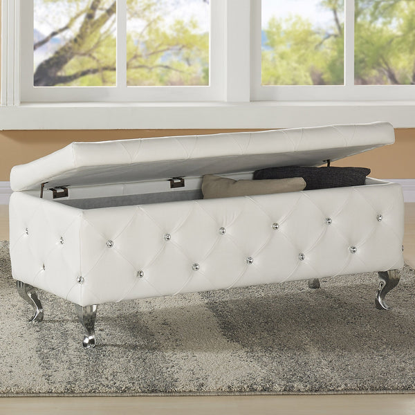 Monica Rectangular Storage Ottoman in White - sydneysfurniture