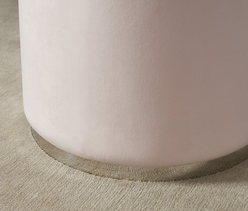 Opie Round Ottoman in Blush & Silver - sydneysfurniture