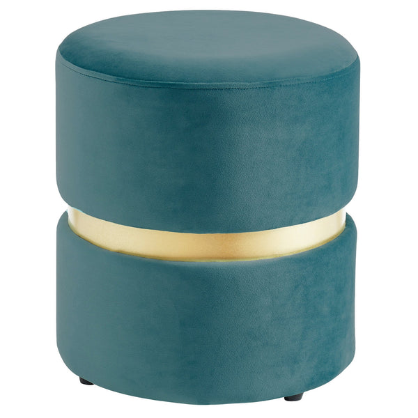 Viola Round Ottoman in Teal - sydneysfurniture