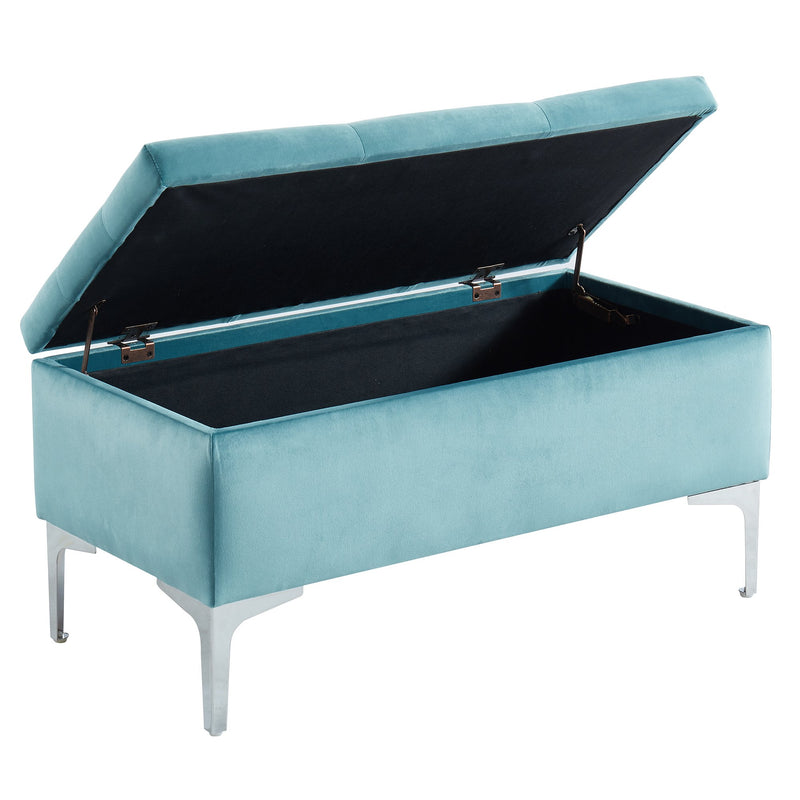 Monica Rectangular Storage Ottoman in Teal/Silver - sydneysfurniture