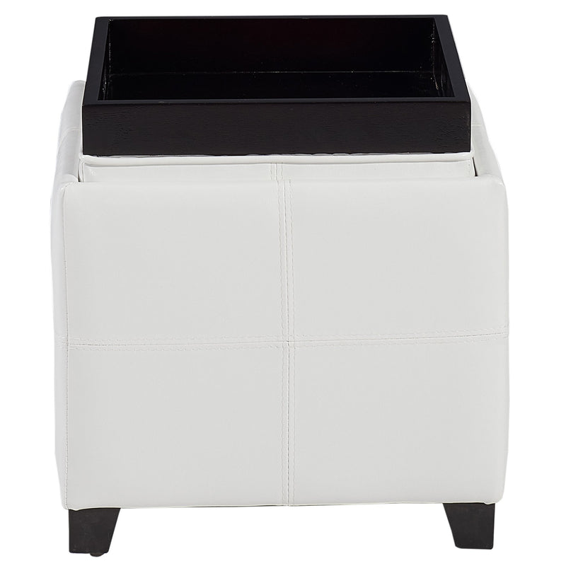 Atom II Square Storage Ottoman in White - sydneysfurniture