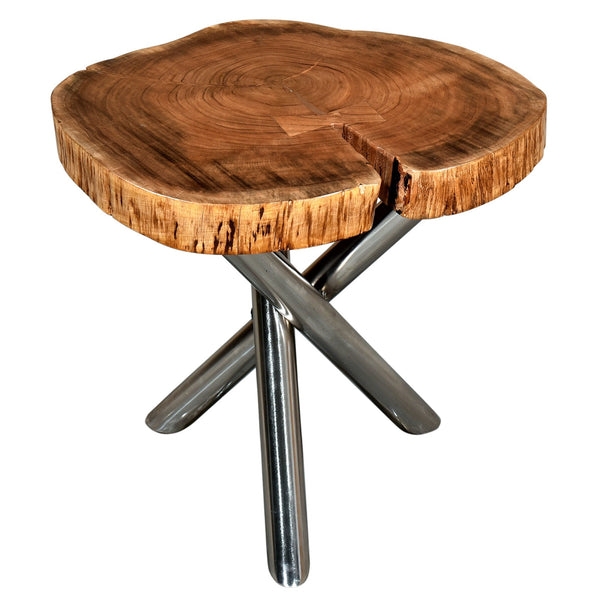 Shlok Accent Table in Natural with Chrome Legs - sydneysfurniture