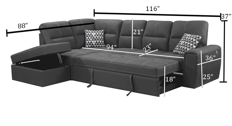 Grey Sectional Sleeper | Couch with Pull out bed | Furniture Warehouse Brampton