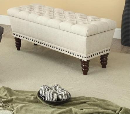Connie Tufted Storage Upholstered Ottoman - Furniture Warehouse Brampton