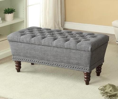 Jenny Grey Tufted Storage Upholstered Ottoman - Furniture Warehouse Brampton