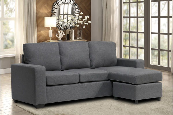 Infinite L Shape Grey Fabric Sectional Sofa Reversible