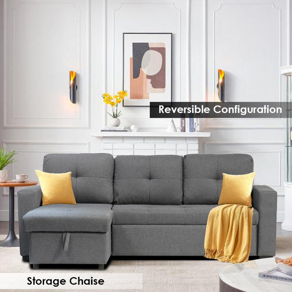 Grey sectional sofa bed with storage