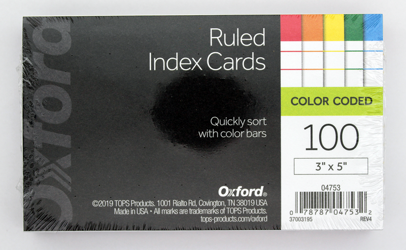 Tops Oxford Color Coded Index Cards - 3in x 5in - Assorted Colors