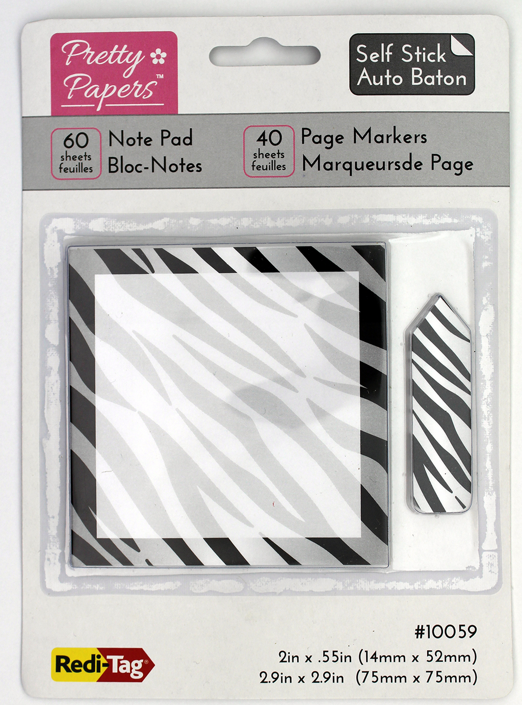 Redi-Tag Sticky Note with Page Markers - Zebra Print