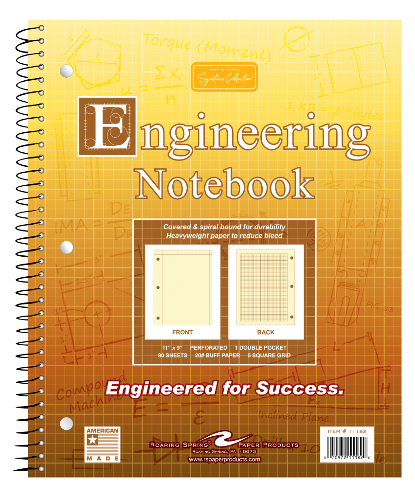 "Roaring Springs Wirebound Engineering Notebook - 8.5"" x 11"" - Buff"