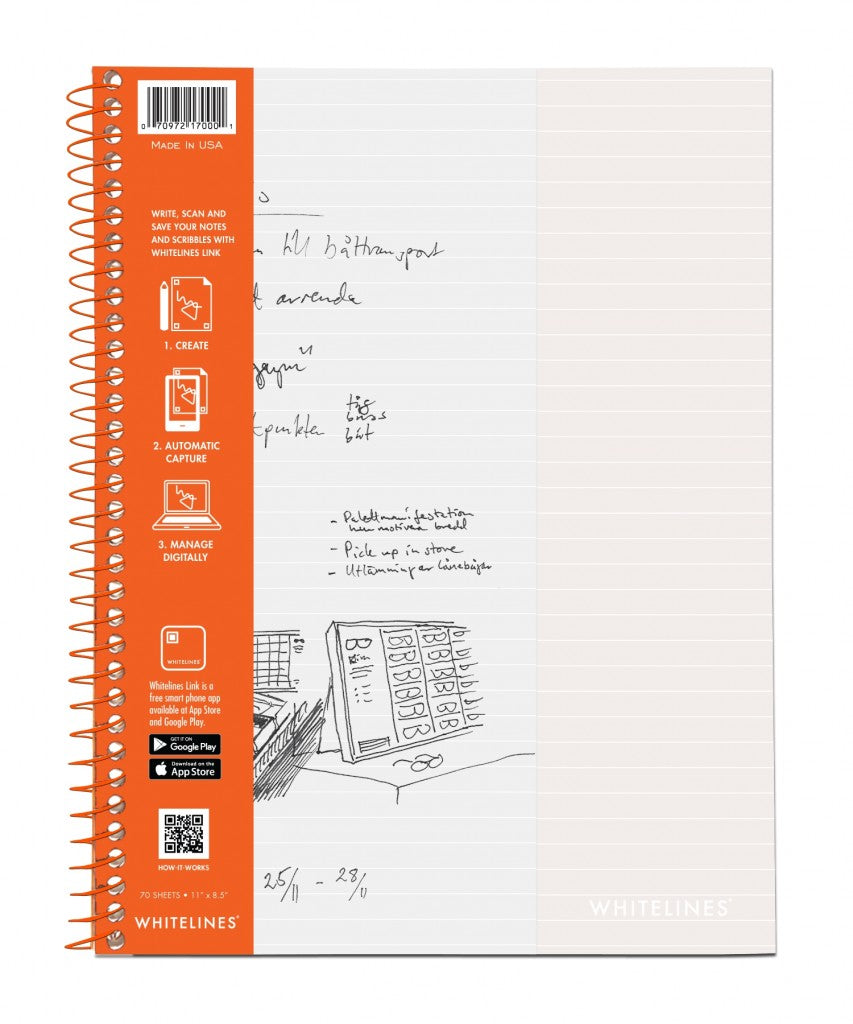 "IMPERFECT Whitelines Wirebound Notebooks 11"" x 8.5"" Lined"