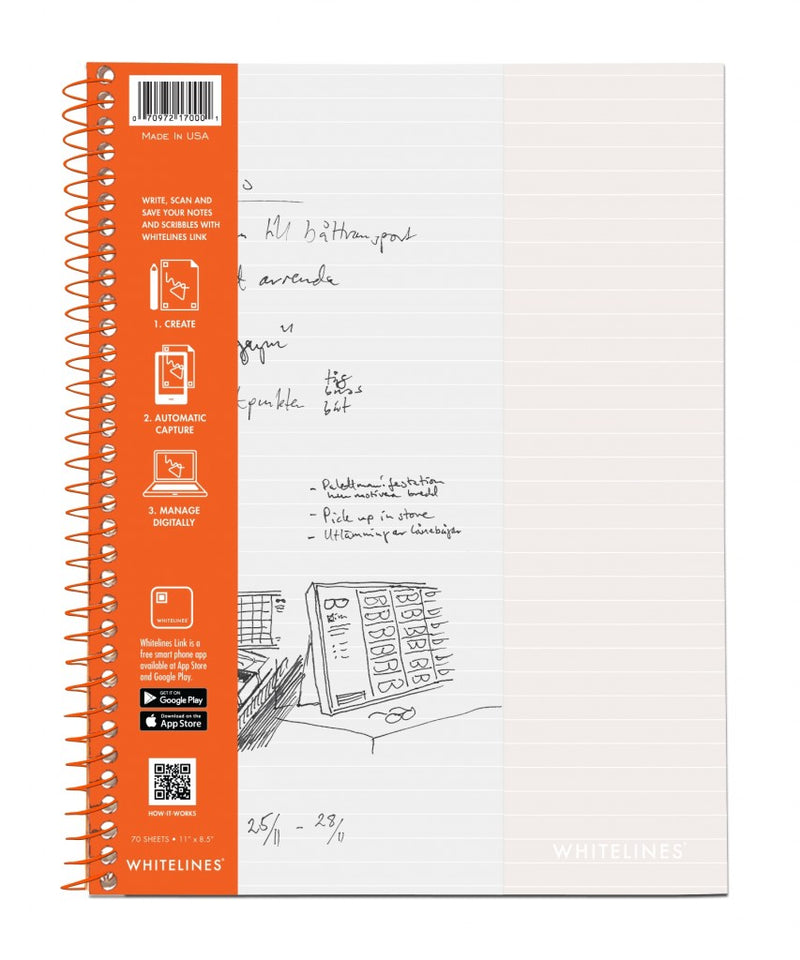 "Whitelines Wirebound Notebooks 11"" x 8.5"" Lined"
