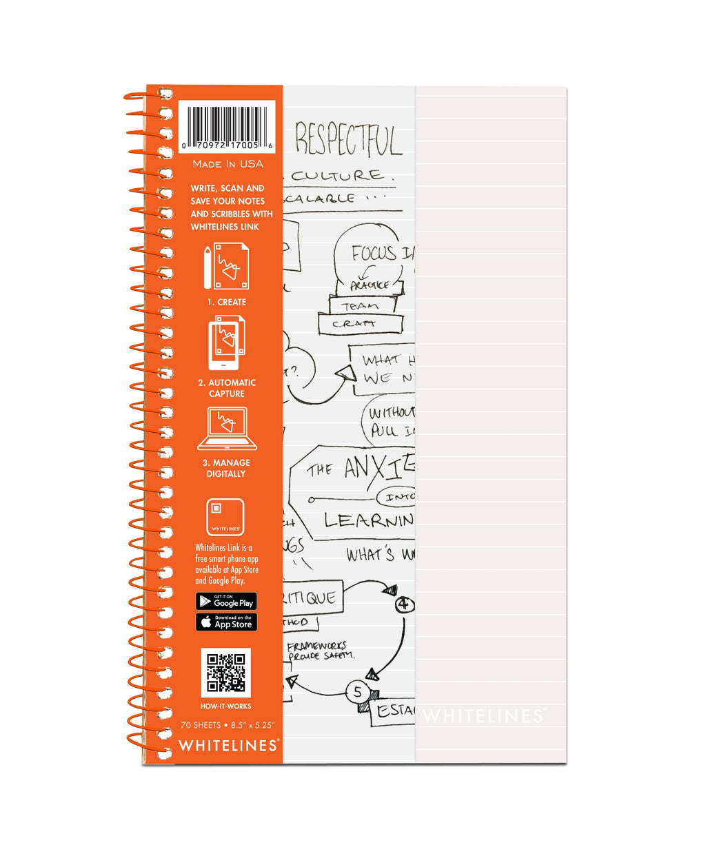 "Whitelines Wirebound Notebooks 8.5"" x 5.25"" Lined"