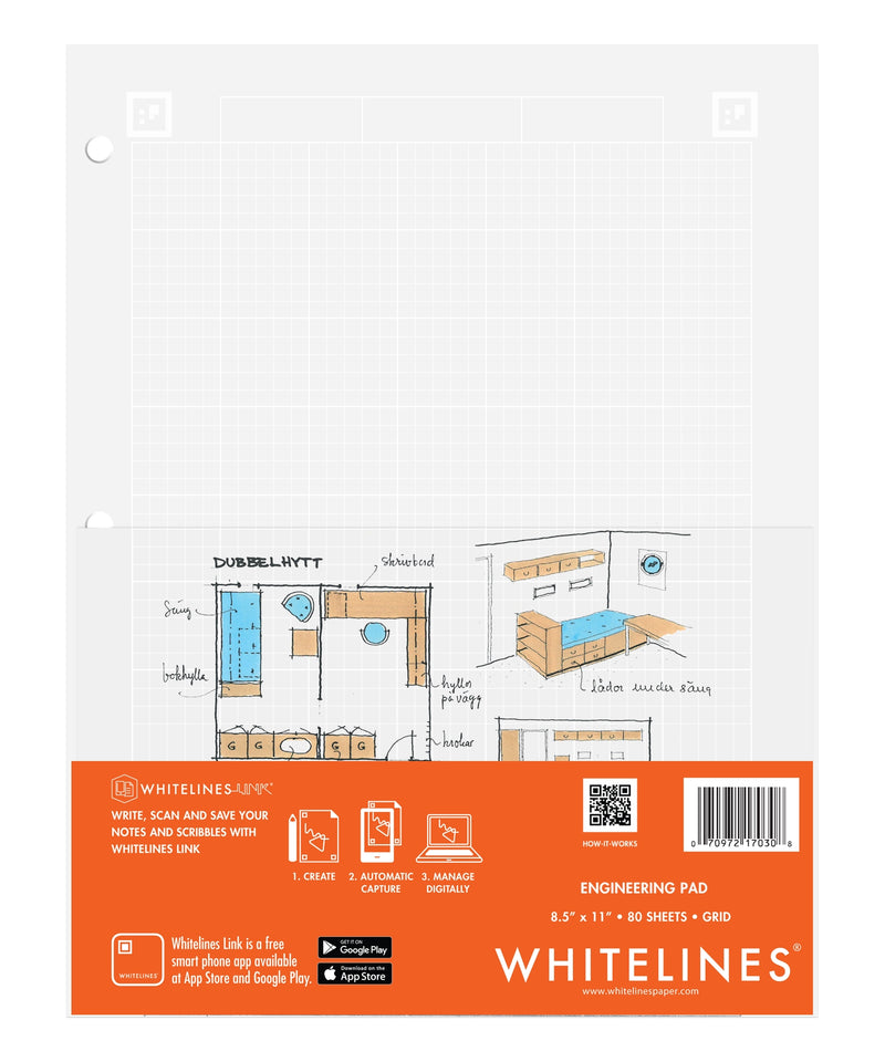 "Whitelines Engineering Pad 8.5"" X 11"" Grid"