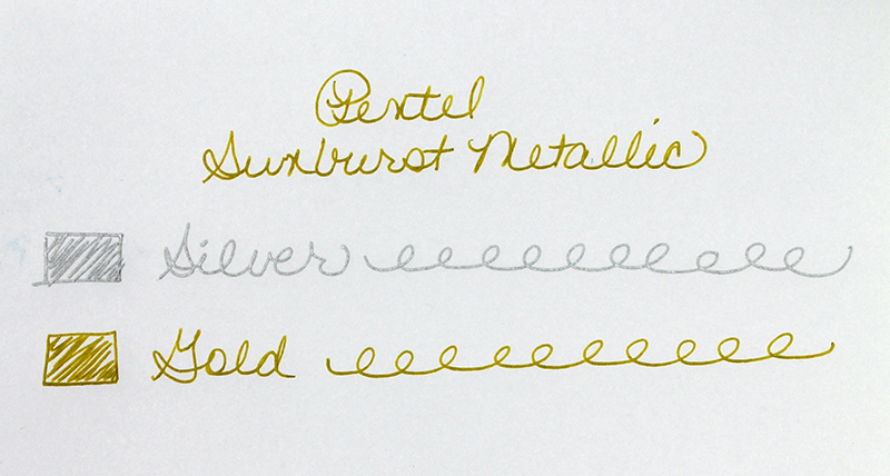 Pentel Sunburst Metallic Gel Pen - 2 Pack writing sample