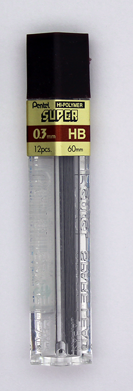 Pentel Super Hi-Polymer Lead 0.3mm - HB