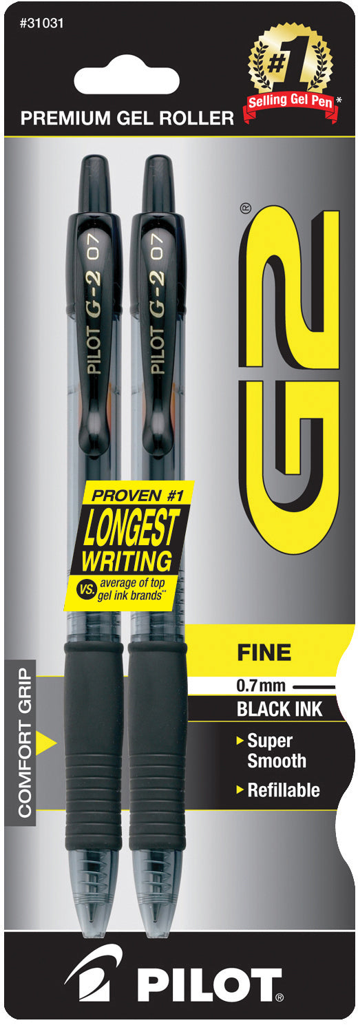 Pilot G2 Retractable Gel Ink Black 2 Pack - 0.7mm
