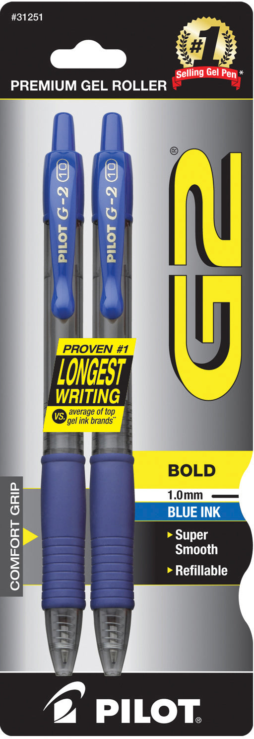 Pilot G2 Retractable Gel Ink Blue 2 Pack - 1.0mm